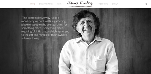 A snapshot image of James Finley's new website.