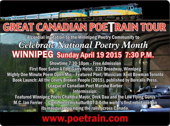 Great Canadian PoeTrain Tour Fundraiser Winnipeg Event poster