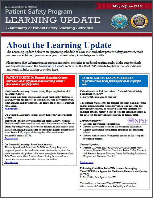 DoD PSP Learning Update May/June 2016
