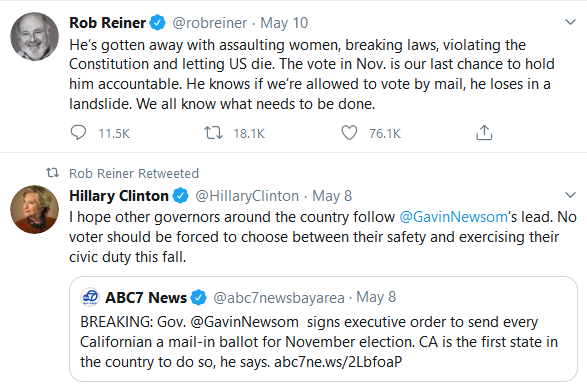 tweets by Ron Reiner and Hillary