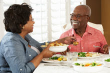 Couple eating a healthy meal