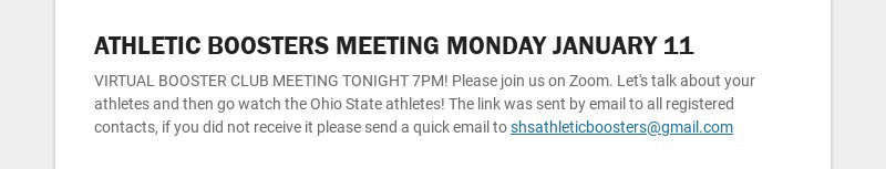ATHLETIC BOOSTERS MEETING MONDAY JANUARY 11 VIRTUAL BOOSTER CLUB MEETING TONIGHT 7PM! Please join...