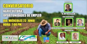Realizarán conversatorio Agricultura: Oportunidades de empleo