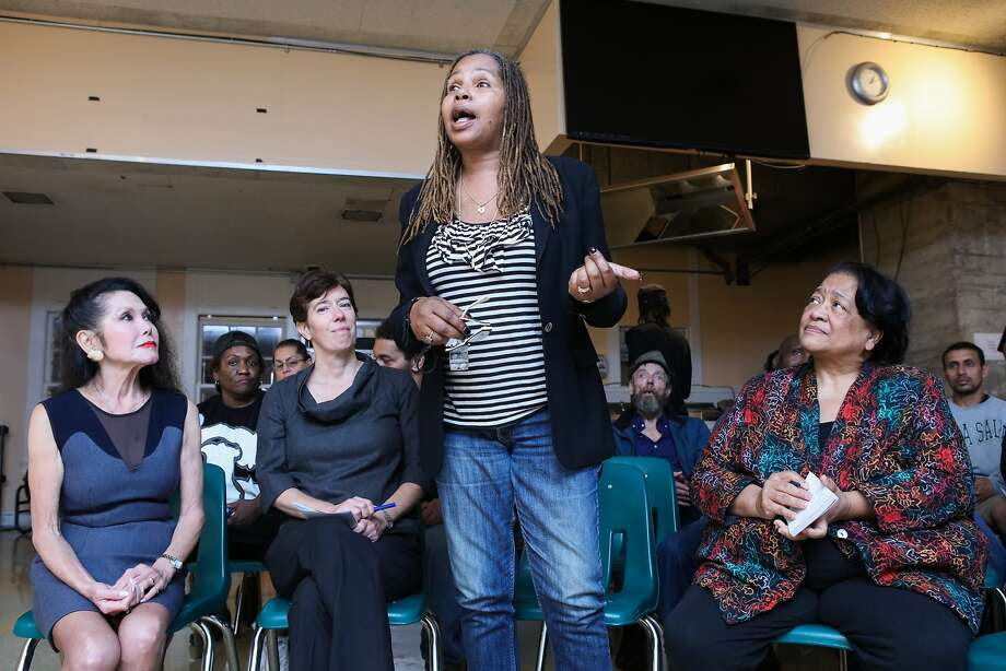 Angela Coleman (center) discusses how the programs at Glide Memorial Church have transformed her life, due, in part to Glide co- founder, Jan Mirikitani (left) in San Francisco, California on Thursday, September 17, 2015. Jan Mirikitani will be receiving a Community Leadership Award from the San Francisco Foundation at Bay Area Bold. Photo: Gabrielle Lurie, Special To The Chronicle