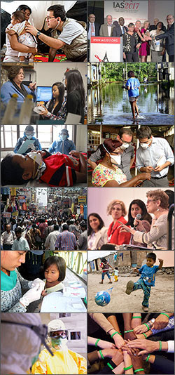 Collage of images from the top global health research stories of 2017