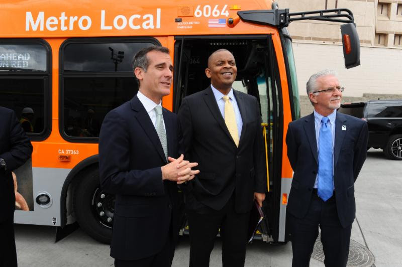 Councilmember Krekorian joined USDOT Secretary Anthony Foxx and Mayor Eric Garcetti on a tour of Division 13, Metro's new LEED Gold certified bus maintenance and operations facility. | Photo: Metro