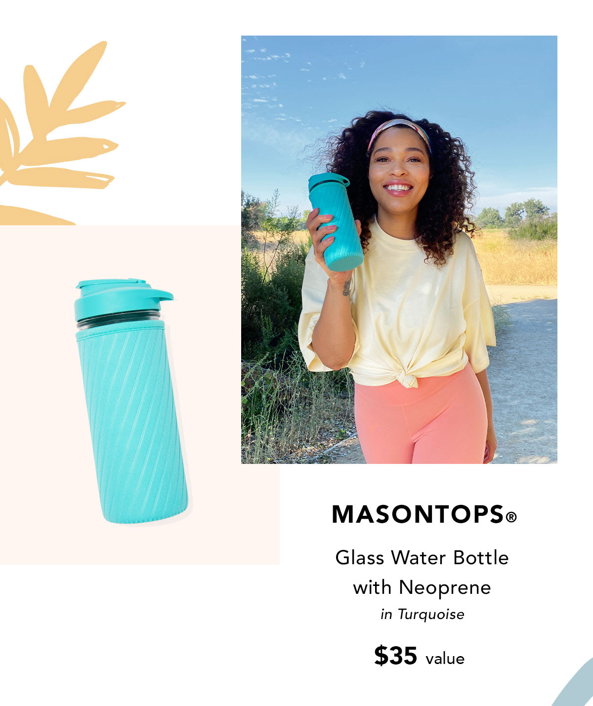 Masontops® Glass Water Bottle with Neoprene in Turquoise $35 value