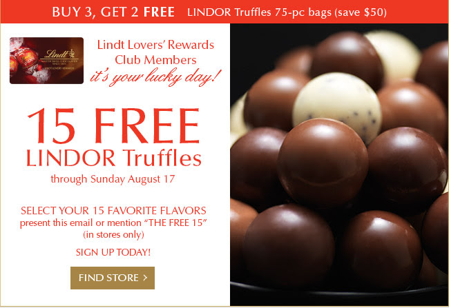 Get your Free gift today! For Lindt Lovers' Rewards Club members only.