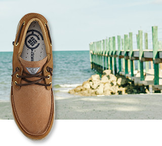 An image of a Super Bahama Boat Shoe atop an image of a boat dock.