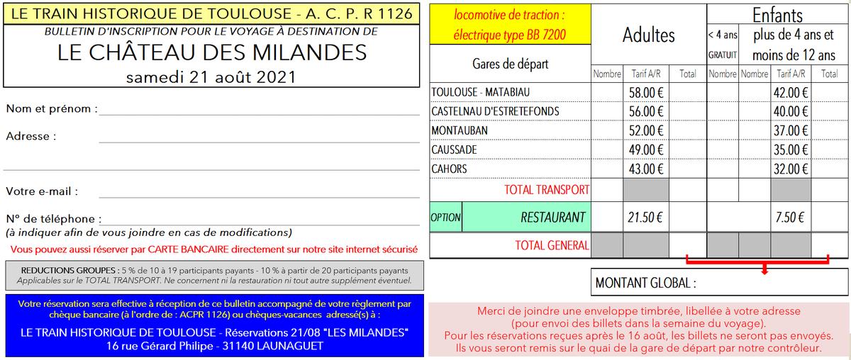 Bulletin d'inscription CHÂTEAU DES MILANDES  21 08 2021