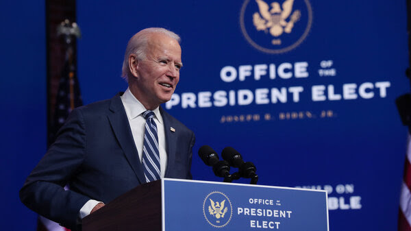 President-elect Joe Biden addresses the media Tuesday in Wilmington, Del., about the Trump administration's attempt to overturn the Affordable Care Act.
