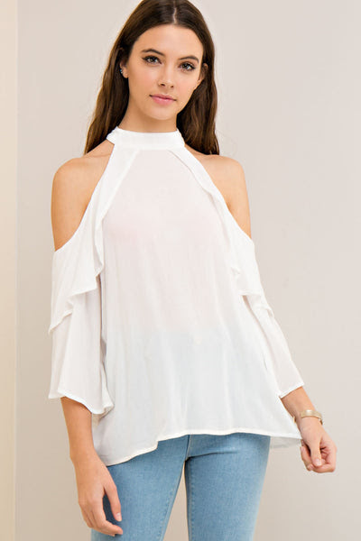 Solid mock neck open-shoulder blouse with layer ruffle
