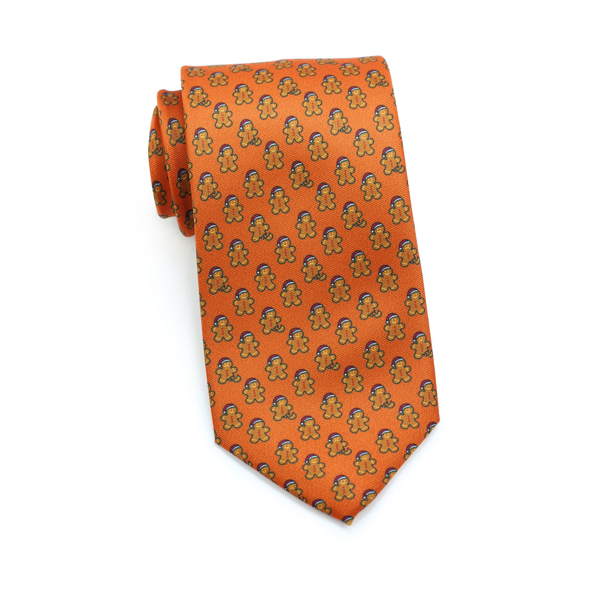 gingerbread men design necktie in orange