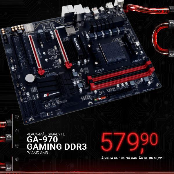 Placa-Mãe GIGABYTE p/ AMD AM3+ ATX GA-970-GAMING DDR3