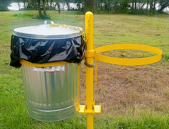 The Choctaw Nation has installed trash cans around Lake Nanih Waiya to cut down on litter and enhance the area for visitors. (Don Groom/ODWC)