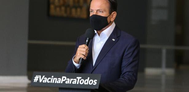Governador de São Paulo, João Doria (PSDB), durante entrevista coletiva sobre a pandemia de covid-19 no Palácio dos Bandeirantes