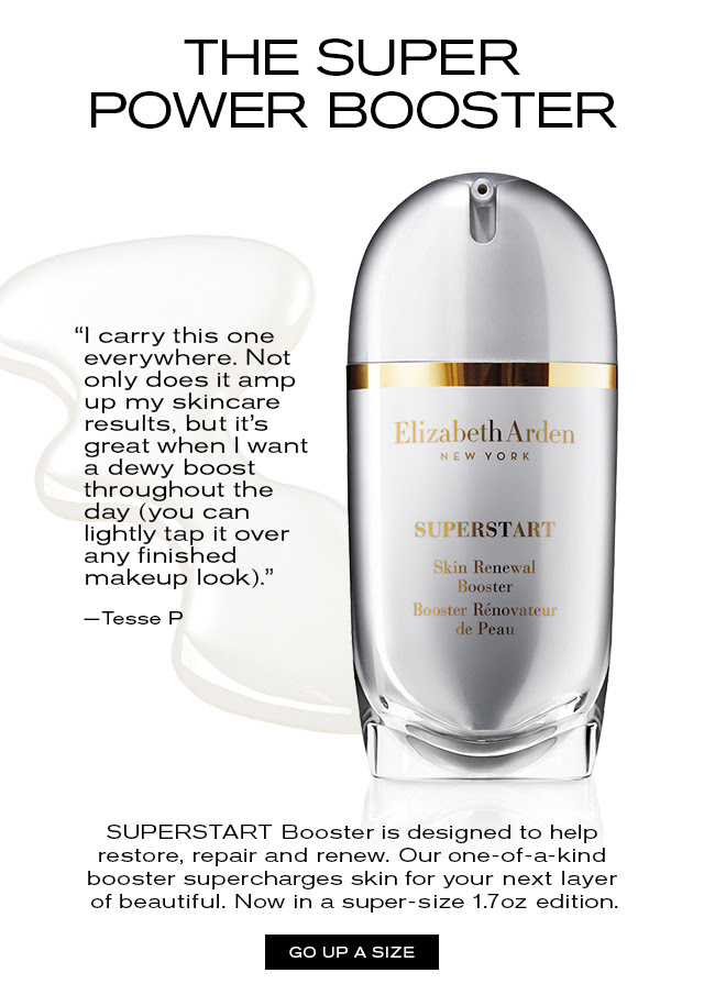 """THE SUPER POWER BOOSTER. """"I carry this one everywhere. Not only does it amp up my skincare results, but it's great when I want a dewy boost throughout the day (you can lightly tap it over any finished makeup look)."""" -Tesse P. SUPERSTART Booster is designed to help restore, repair and renew. Our one-of-a kind booster supercharges skin for your next layer of beautiful. Now in a super-size 1.7 oz edition. GO UP A SIZE"""