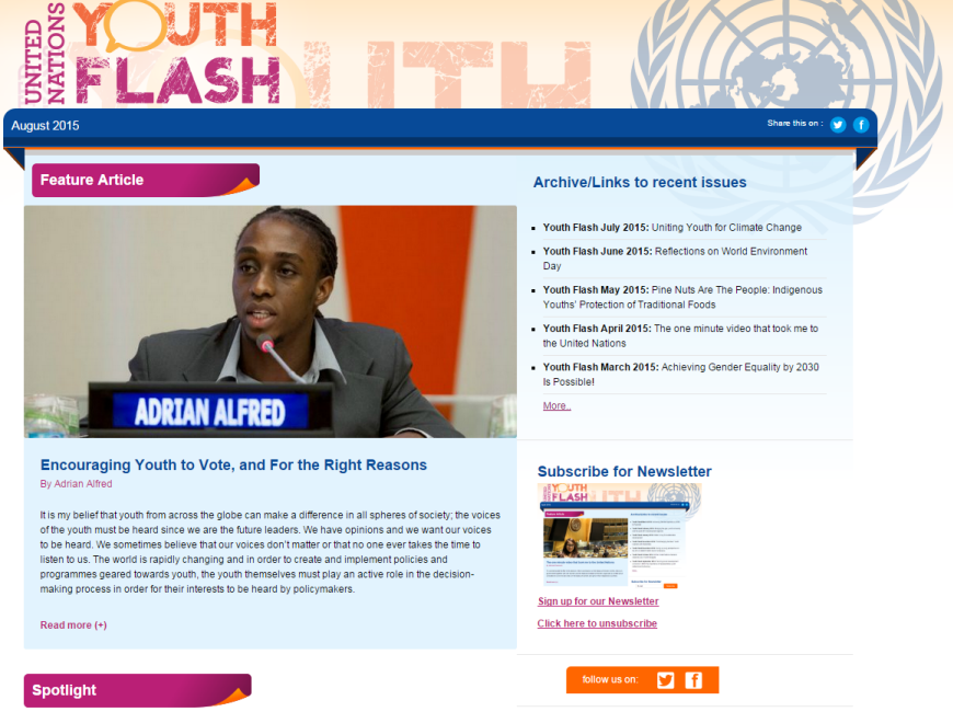 UN Youth Flash August 2015