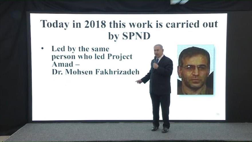 El primer ministro israelí, Benyamin Netanyahu, alude al científico iraní Mohsen Fajrzadeh en un discurso televisivo, 30 de abril de 2018.