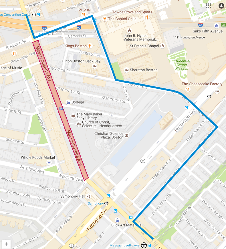 Map of suggested alternative route for Mass Ave