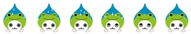 雨が徐々に降り始め、 カエルに雫ができ、 はじけて消えます。 また雨は徐々にやみます。