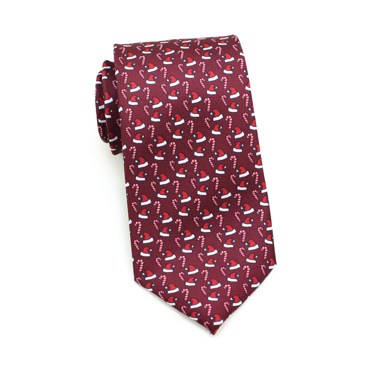 necktie with santa hats in cherry red color