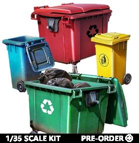 Buildings & Accessories Series Plastic Trash Can Model Kit Set