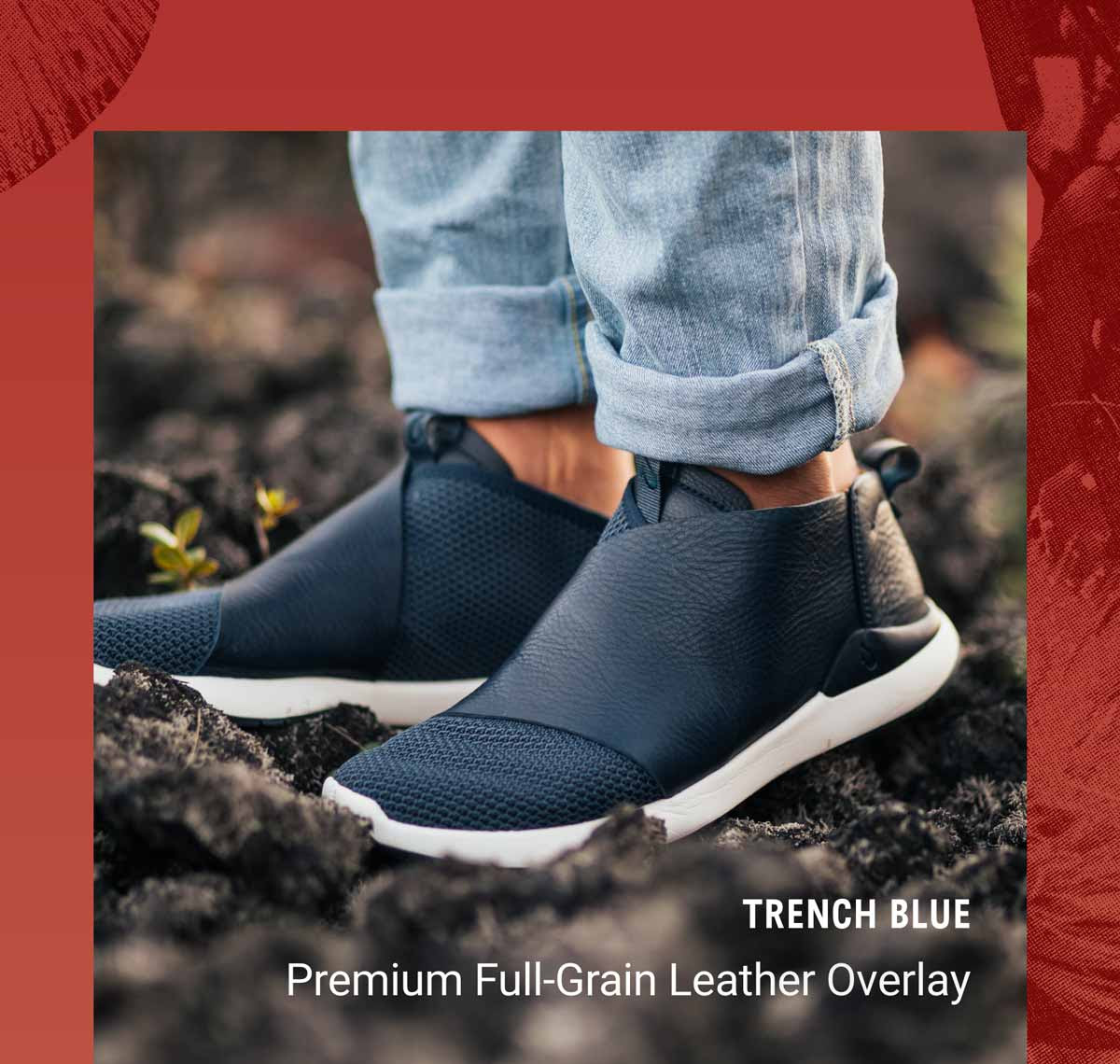 Image of man wearing Kilipue sneaker. Text. ''Premium Full-Grain Leather Overlay''.