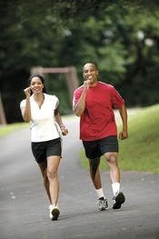 African American couple walking