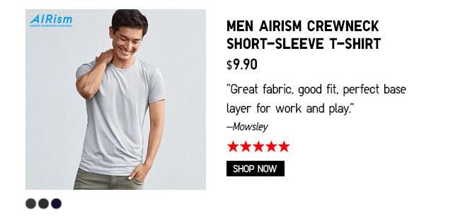MEN AIRISM CREWNECK SHORT-SLEEVE T-SHIRT - SHOP NOW