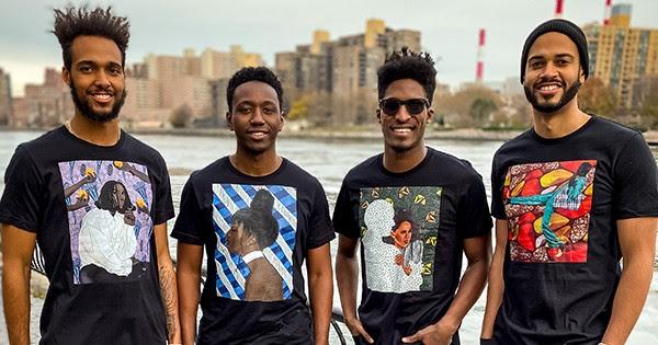 Black men wearing t-shirts from ArtistsUntold