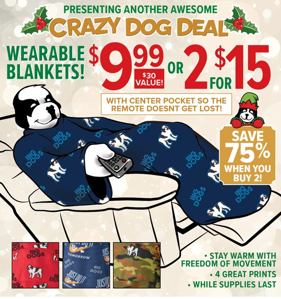 SAVE 75% on Wearable Blankets.