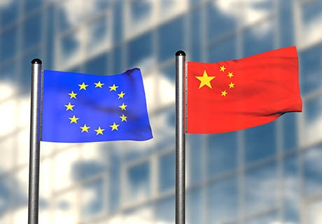 File image of the EU and China's flags/savetibet.org