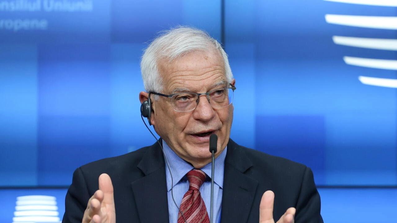 Lãnh đạo Ngoại Giao Liên Âu, Josep Borrell, phát biểu trong cuộc họp báo sau cuộc họp của các ngoại trưởng Liên Âu tại Bruxelles, Bỉ, ngày 22/03/2021.