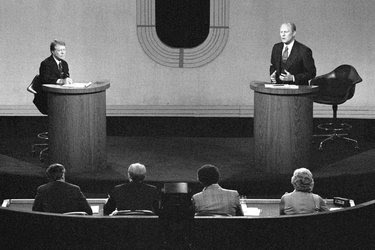 The 1976 Democratic presidential nominee, Jimmy Carter, left, and President Gerald Ford, during their second debate in October of that year.