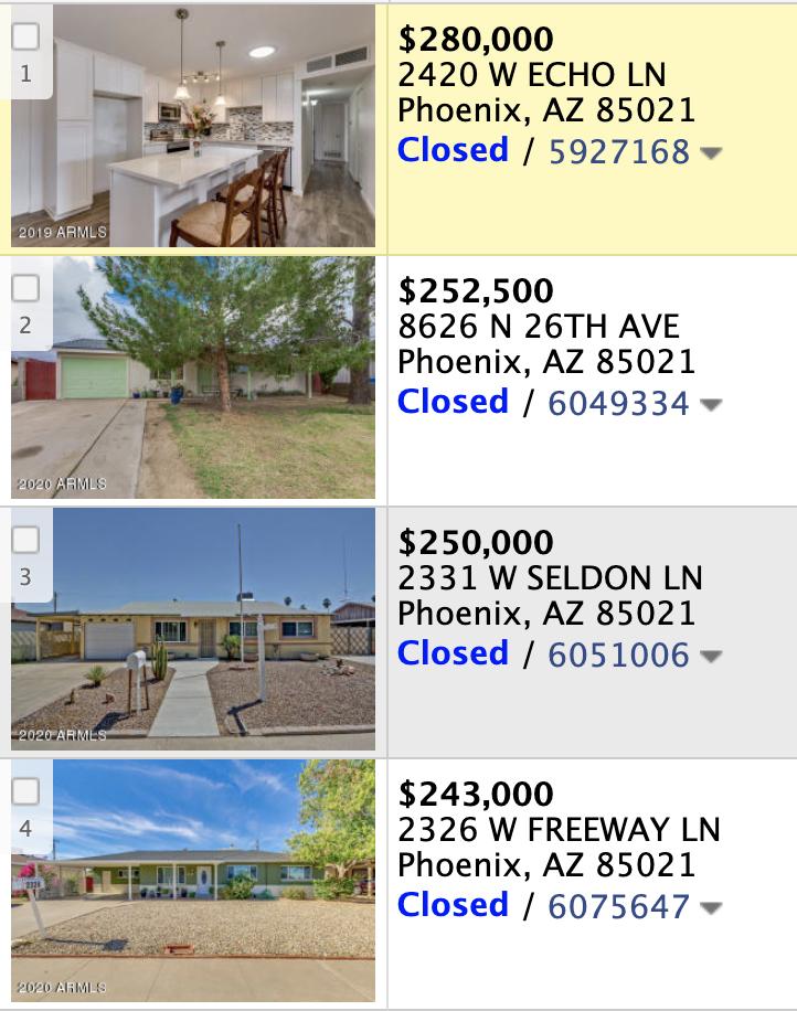 8614 N 26th Ave, Phoenix, AZ 85021 comps list
