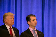 President-elect Donald J. Trump and his son Donald Trump Jr. at a news conference on Wednesday in Trump Tower in Manhattan.