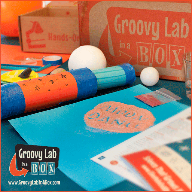 Moon Dance Groovy Lab in a Box, a STEM kit for kids delived to your door. Get your Goovy Lab in a Box Coupon Codes for this box. Limited time offer