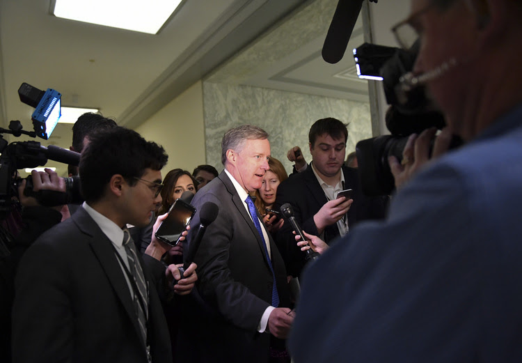 Rep. Mark Meadows (R-N.C.) makes his way to a meeting with other members of the House Freedom Caucus. (Ricky Carioti/The Washington Post)