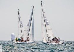 J/70 sailboats- sailing upwind offshore