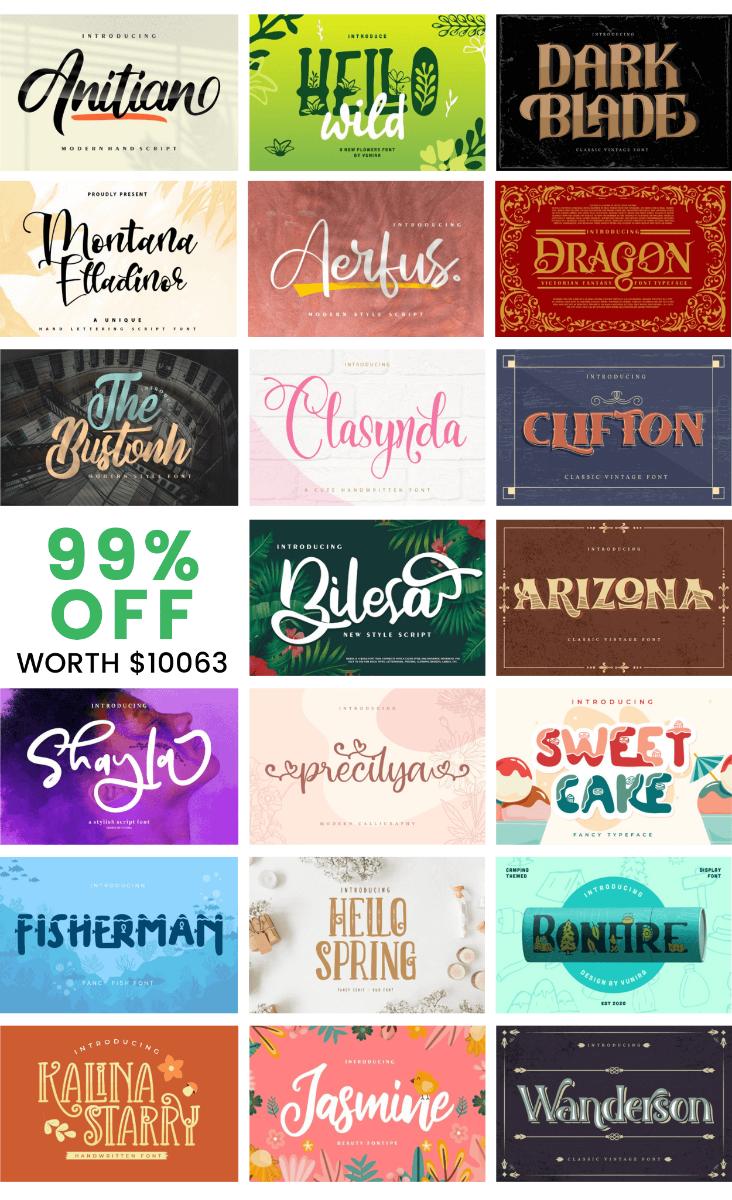 Spectacular Collection Big Bundle: 500 Premium Fonts