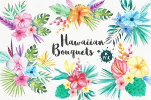 Tropical Bouquets Clipart Set