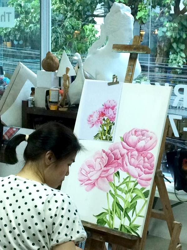 Flowers Painting  workshop Teach by Kru Juy