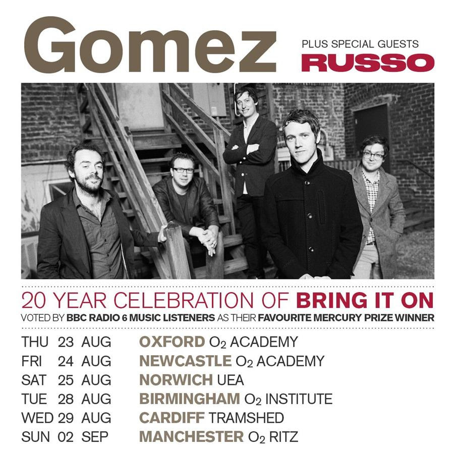 Gomez UK Tour August September 2018 Bring It On Anniversary Poster