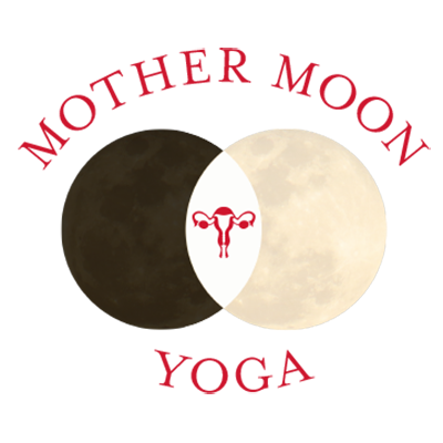 Mother Moon Yoga text with image of a dark moon crossing a full moon with a uterus between them