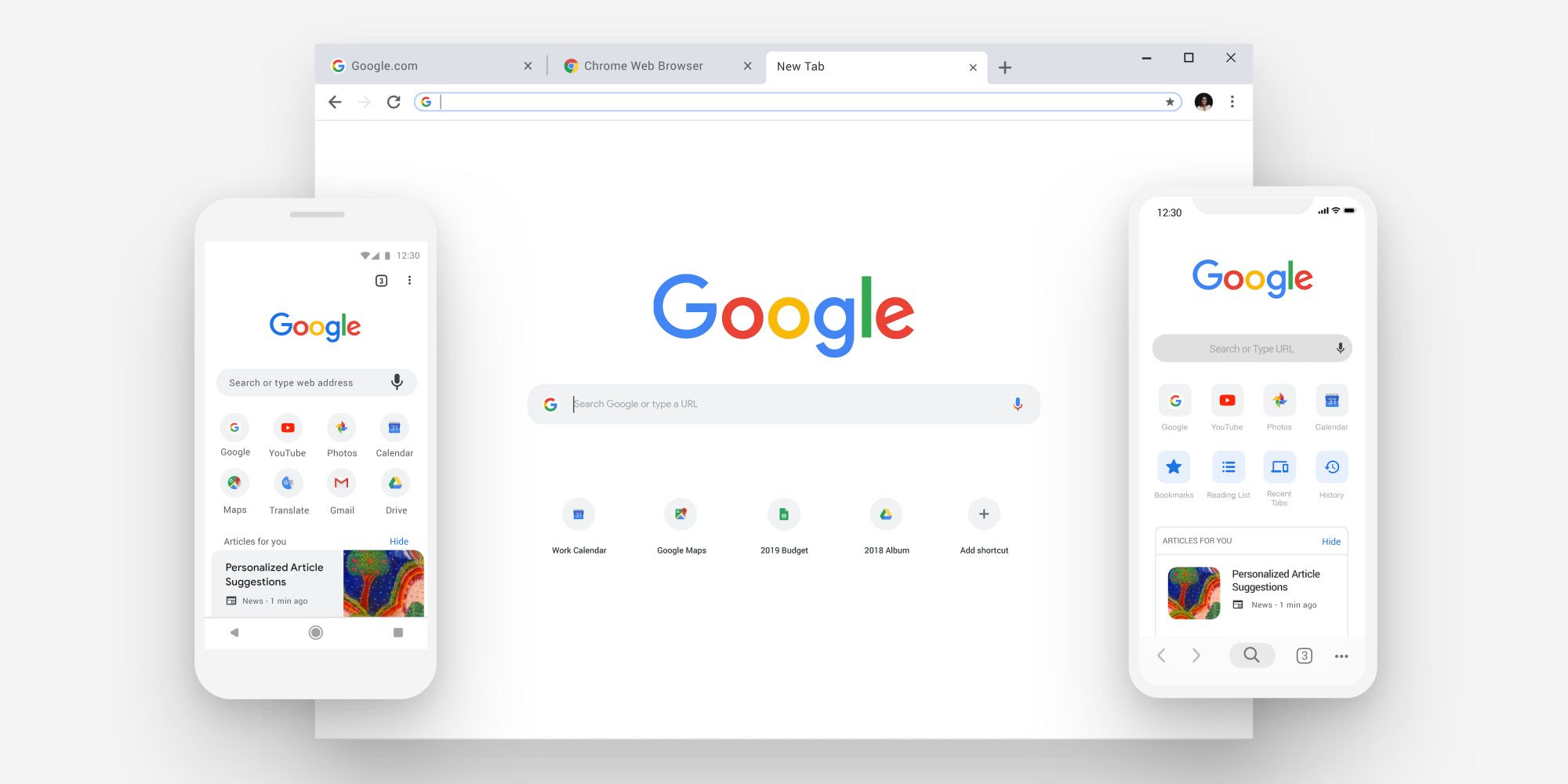 Google Chrome displayed on a variety of devices