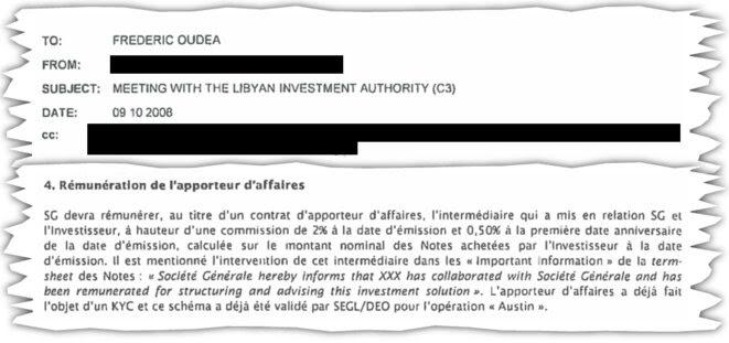 Extrait du mémo adressé à Frédéric Oudéa en octobre 2008 pour son déplacement à Tripoli. © DR
