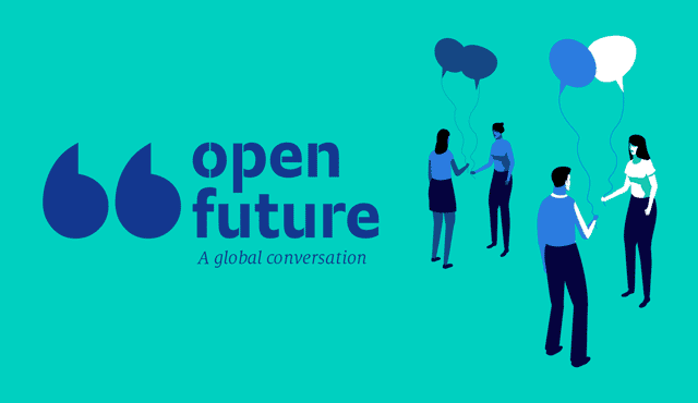 quote marks and open future logo