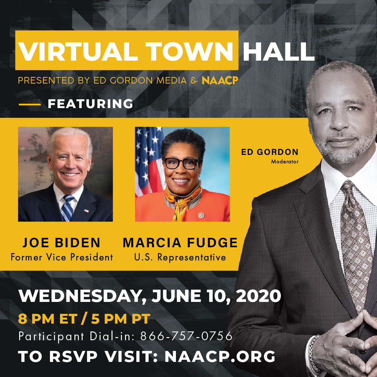 RSVP for the Upcoming Virtual Town Hall Featuring Vice President Joe Biden and U.S.Representative Marcia Fudge on NAACP.org