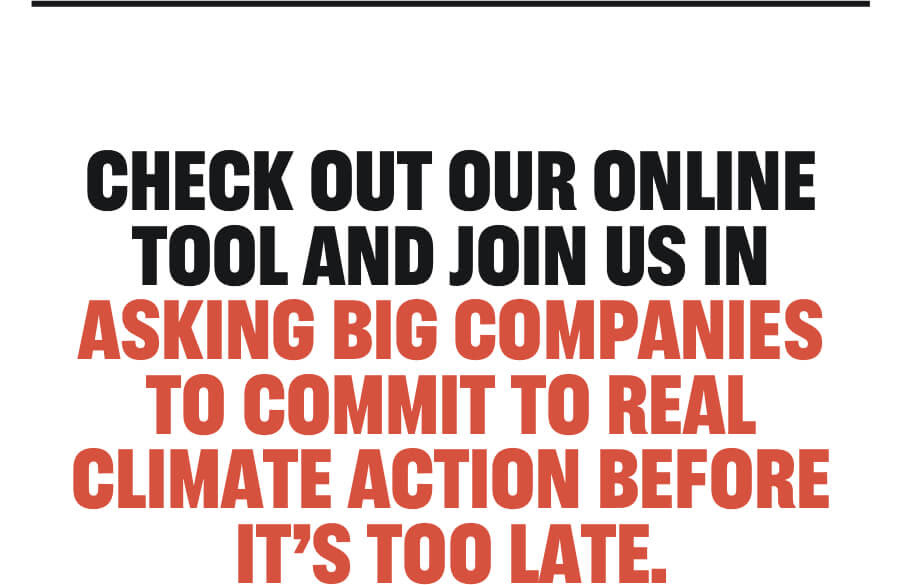 Check out our online tool and join us in asking big companies to commit to real climate action before it's too late.